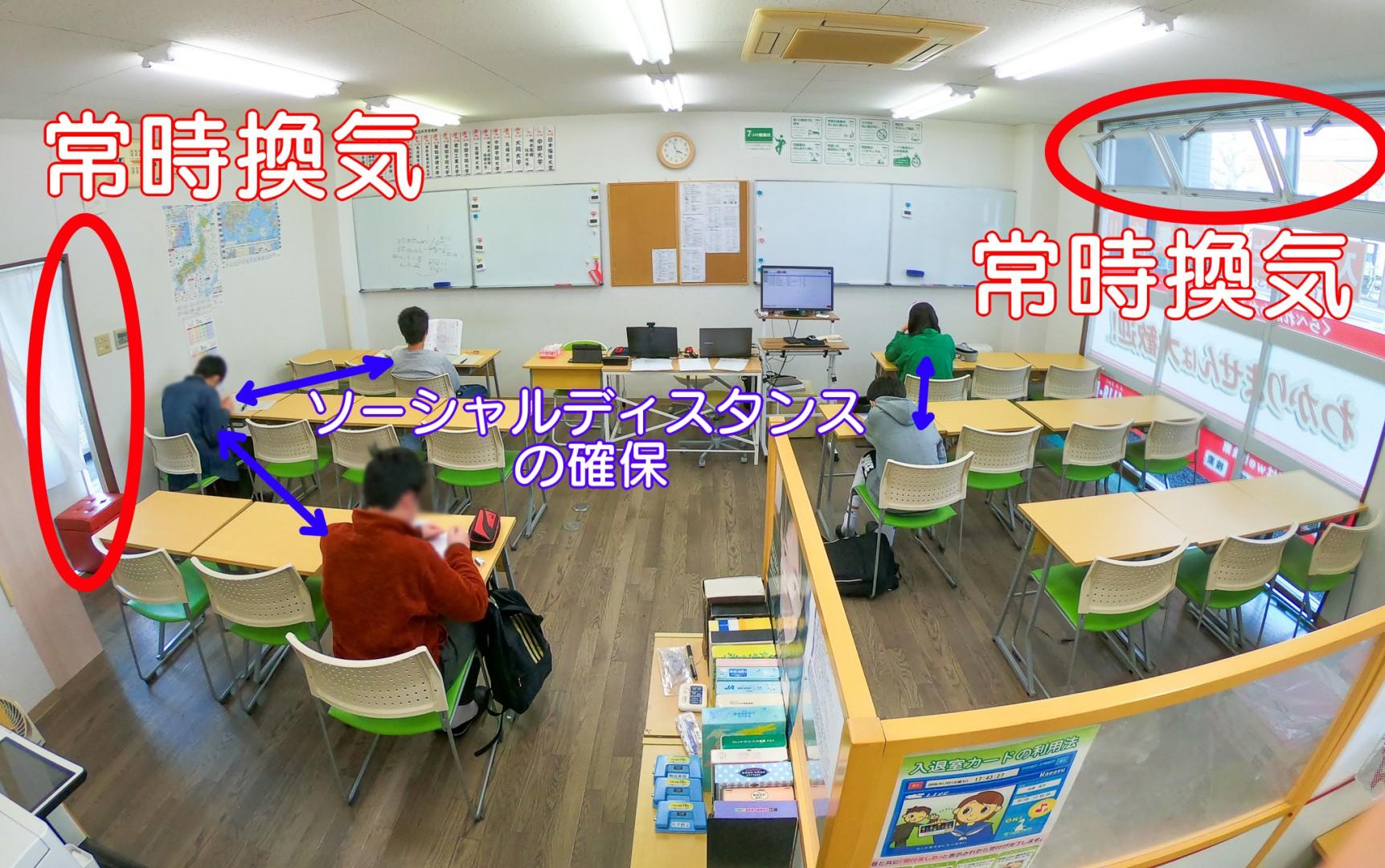 コロナ対応時の授業風景